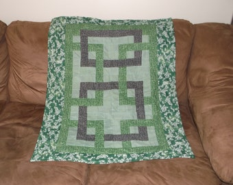Mostly Green with Some Gray Calico Cross-over Baby/Toddler Quilt with Turtles and Frogs Fleece on the Reverse Side (FREE SHIPPING)