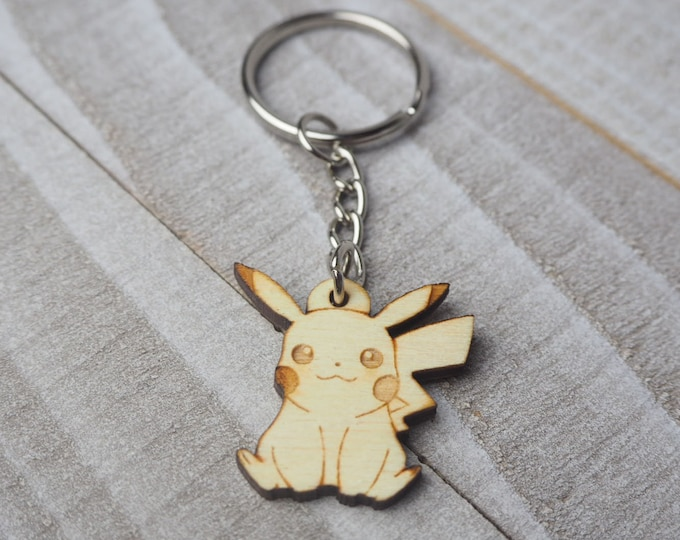 Pikachu Pokemon Keychain | Laser Cut Jewelry | Wood Accessories | Wood Keychain
