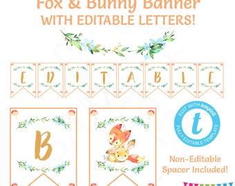 Banner Template, Editable Banner, Fox Baby Shower, Fox and Bunny, Baby Shower Banner Personalized, Printable, Instant Download Templett FXBN