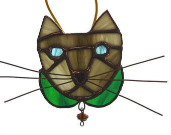 Gray & White Tabby Cat Stained Glass
