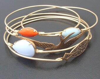 Free as a Bird Stacking Bangle Bracelet Set, Gold Bracelet Bangles, Gold Bangle Set, Spring Fashion, Spring Jewelry, Spring Bracelet Stack