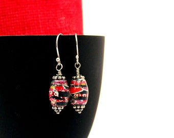 Red Paper Bead Earrings - Red Paper & Silver Bead Earrings - Paper Bead Earrings - Paper Jewelry - Gift for her - Red Earrings