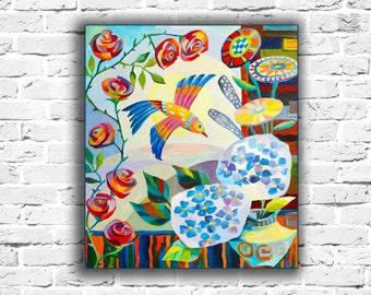 Hydrangea Oil painting nature paintings on canvas Bird painting original art bird paintings on canvas abstract paintings on canvas original