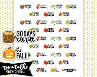 Fall Countdown PRINTABLE planner Stickers | Pdf, Jpg, Png | Instant Download