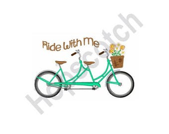 Ride With Me - Machine Embroidery Design - 5 X 7 Hoop, Bicycle, Tandem Bike