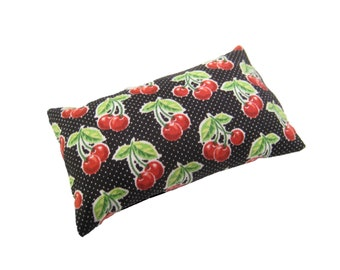 Pinup Girl's Emery Pincushion - Abrasive Pin cushion with Cherries and Black polka dot fabric