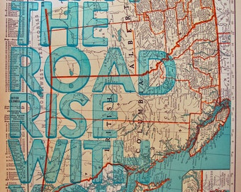 British Columbia and Alberta/ May The Road Rise With You/ Letterpress Print on Antique Atlas page