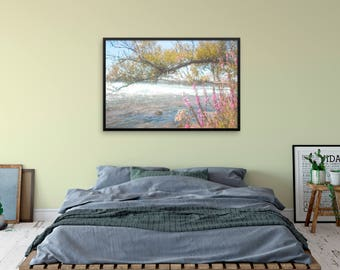 """Watercolor landscape """"By the Flowing River"""" by Malinee Ganahl. Fine Art Lustre Print. Pink flowers, tree branch by water's edge."""