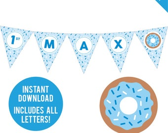 INSTANT DOWNLOAD Blue Donut Party - DIY printable pennant banner - Includes all letters, plus ages 1-18