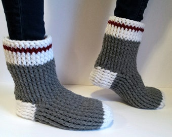 Old Fashioned Work Sock Slipper Boots, Crocheted Slipper Boots, Work Socks, Slippers