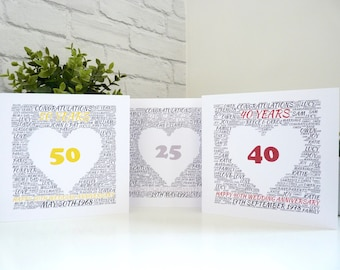 Personalised Anniversary Card, 25th/40th/45TH/50th/65th Wedding Anniversary Card, Personalised Silver/Ruby/Golden/Sapphire Wedding Card