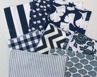 Navy Blue Fabric Scraps Pack, Canopy, Cotton Belt, Gingko, Plaid, Chevron, Mums, Ticking, Jersey, Premier Prints Home Decor Remnants Pile