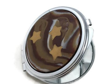 Gold stars compact mirror with brown marbled clay