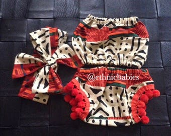 African baby top crop top, diaper cover and hairbow/baby top/crop top/hairbow/African babygirl clothes//Headwrap/Newborn clothes/African clo