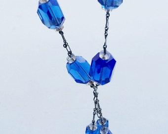 Art Deco Czech Glass Necklace, Faceted Glass Bead, Silver Paper Clip Chain Vintage Sautoir