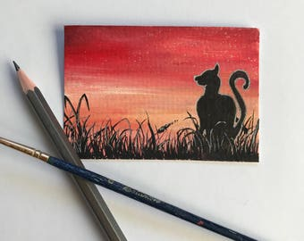 Sunset silhouette - cat original ACEO/ Artists trading card. Mixed media. Free UK delivery.