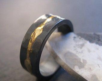 Mens Wedding Band Rustic Mens Wedding Ring 8mm Oxidized Ring Mens Wedding Rings Unique Wedding Band Mens Wedding Bands Viking Wedding Ring
