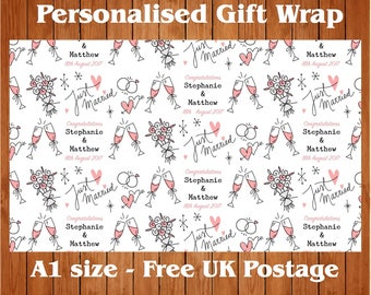 """Personalised Wedding Day Wrapping Paper """"Simply Pink"""" with 2 tags."""