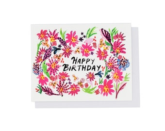 Pink Jungle Happy Birthday, Floral Watercolor Card