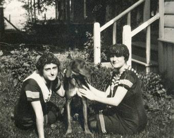 vintage photo 1919 Teenage Young Ladies Love Hound Dog Bathing suits Caps