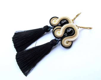 Long Dangle Earrings, Black Tassel Earrings, Soutache Earrings, Gold Earrings, Beige Earrings, Black Earrings, Tassel Earrings