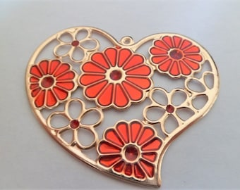 Heart pendant gold plated and red enamel with floral pattern or