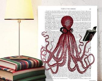 Geekery - The Intelligent Octopus Print Dorm room decor Octopus decor Nautical decor Nerd room decor Geek book art Funny gift dad Dorm decor