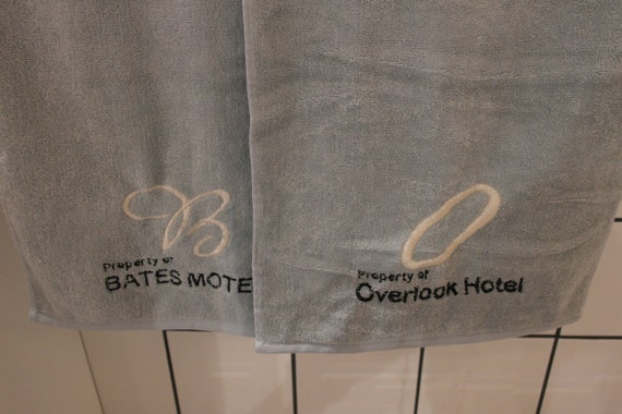 Horror Towel Set  (2 gym towels, embroidered) (bates motel, horror movie, ahs, american horror story, hotel cortez, overlook hotel)