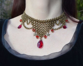 Gothic chainmail necklace, steampunk witchy vampire jewelry ruby red crystal necklace, medieval necklace, chainmaille jewelry elven necklace
