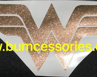Wonder Woman Wonderwoman Logo Glitter Gold Car Window Cup Yeti Rambler Decal
