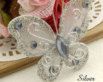 Silver Christmas 20 Butterfly Ornament Decoration Shabby Chic French Country Feather Tree Floral Wreath Centerpiece Table Top Craft