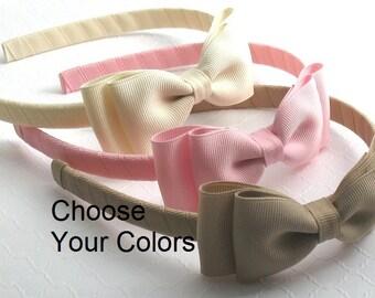 Girls Headbands / Toddler Headbands / Girls Bow Headbands, School Uniform Hard Headbands with Bows ~ Set of 5, Back to School Bows Headbands