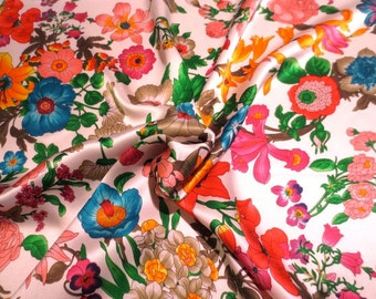 Lovely Bright Botanical Print on White Pure Silk Charmeuse Fabric--By the Yard