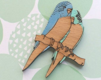Budgie buddies! Hand painted laser cut wooden brooch
