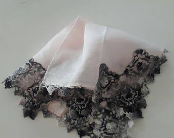 Vintage goth pink and black gray lace handkerchief,pale pink and black lace crochet hankie,boho wedding hankie ,vintage linen hankie,1940s