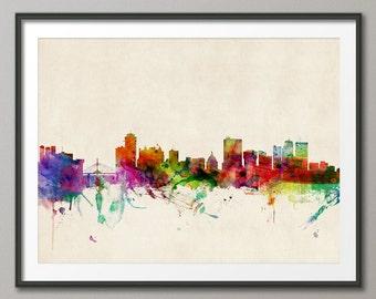 Winnipeg Skyline, Manitoba Canada Cityscape Art Print (543)