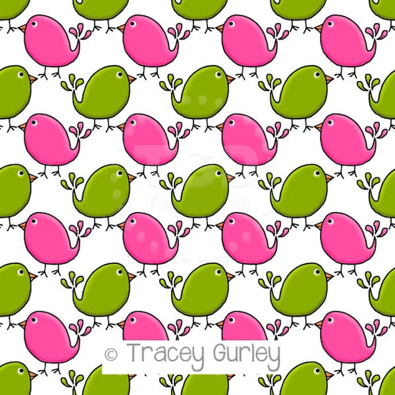 preppy cute birds pink and green digital paper preppy