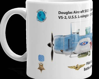 "Medal of Honor Coffee Cup, 11 and 15oz.  Lt. (j.g.) William Hall's SBD-3 Douglas ""Dauntless"" Dive Bomber."