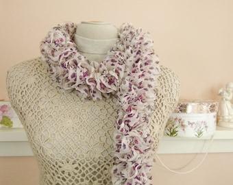 "Lightweight Chiffon Floral Ruffle Scarf - Hand Knit Ruffle Shabby Chic Scarf- ""Fray Away #1"" - Item 1548"