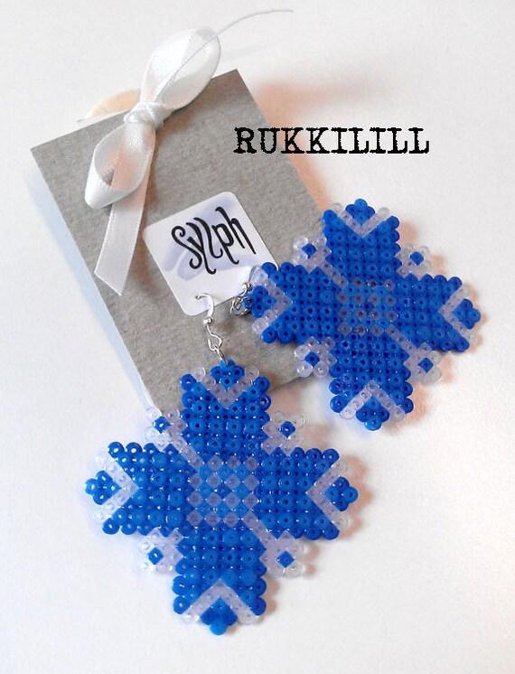 Earrings made of Hama Mini Beads - Rukkilill (Cornflower)