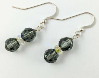 Sweet 16th Birthday Earrings,Sterling Silver Earrings, Swarovski Crystal Earrings, Black Diamond Earrings