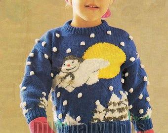 "The Snowman Intarsia Sweater DIGITAL PDF knitting Pattern to fit chest sizes 22""- 30"" knitted in DK yarn - Skills Level - Intermediate"
