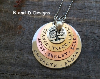 Personalized  Hand stamped family tree necklace for mom -  Mother's Day