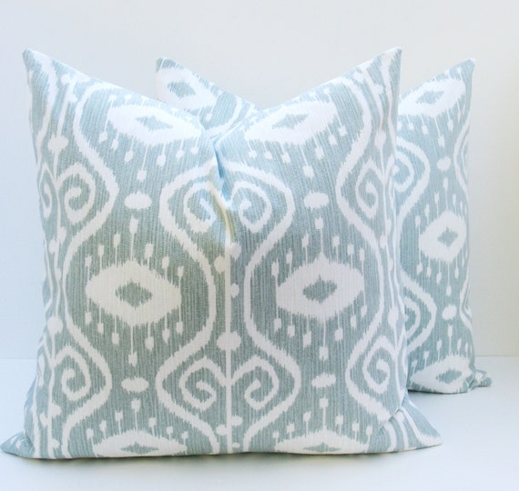 Items similar to ikat pillow 18x18 spa blue pillow blue - Fabric for throw pillows ...
