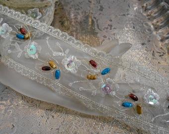 Ecru Floral Stitched Beaded Trim