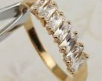 White CW Gems Yellow Gold Filled Ring Size 7