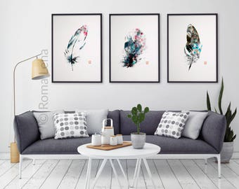 Watercolor Feathers Wall Art Set Of 3 Kitchen Prints Modern Abstract Black  White Decor Black Grey