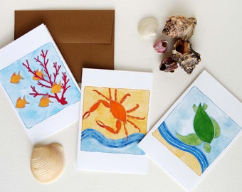 "Beach Art Notecards - Sea Turtle - Sea Life Notecards - Set of Nine (3 1/2"" X 5"") - Thank You Cards"