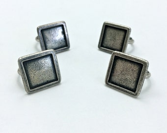 4pc Square Pinky Ring // Adjustable // Small // Blank // DYI // Crafts // Personalize // Heavy Antique // Made In The USA by Winky&Dutch