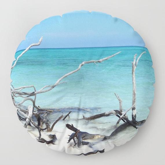 "Beach FLOOR Pillow, Round 26"" and 30"", Floor Cushion, Dorm,Teen Decor,Office,Home Statement Piece, Ocean, Landscape, Zen, Calm,Holiday,Trend"